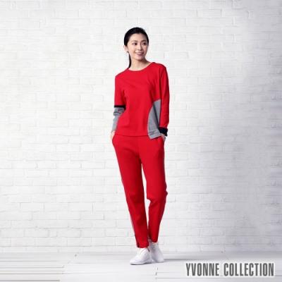 YVONNE 運動風側邊直條直筒長褲-紅