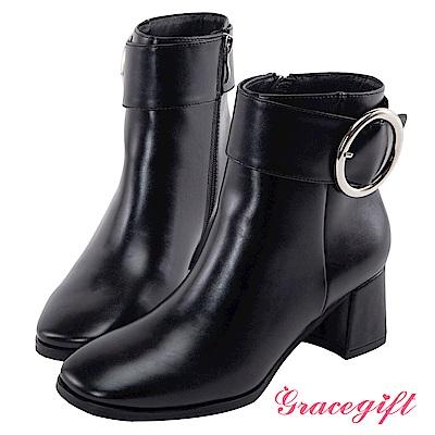 Grace gift-金屬大圓環粗帶釦短靴 皮黑