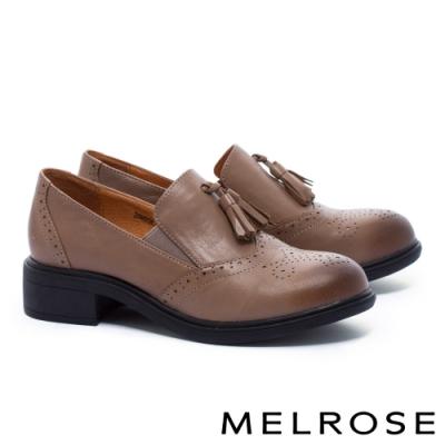 低跟鞋 MELROSE 復古學院風流蘇全真皮低跟鞋-咖