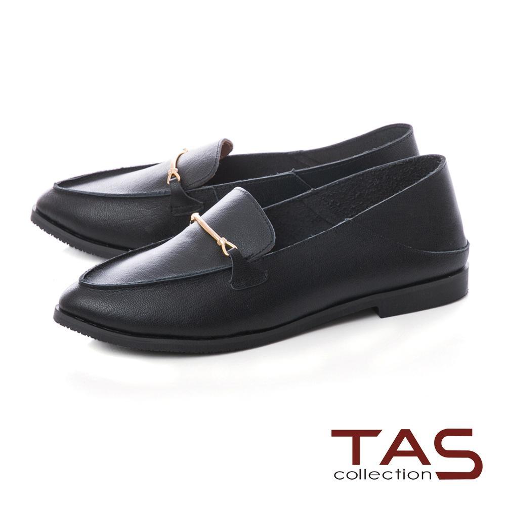 TAS 一字金屬素面牛皮後踩式樂福鞋-實搭黑