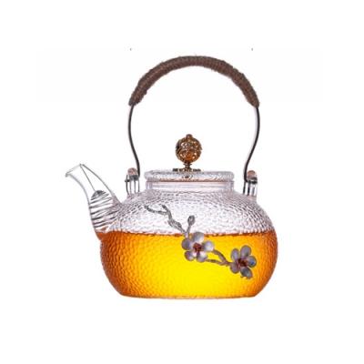 【原藝坊】煮茶壺玻璃耐高溫加厚手工銅把提梁壺(贈送四個杯子)