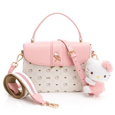 Kitty聯名- 翻蓋斜背包-附寬背帶CATCH YOU !! 愛的抱抱-粉色