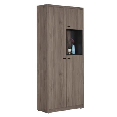 文創集 伊莉莎 現代2.6尺三門高鞋櫃/玄關櫃-78.5x39x192.5cm免組