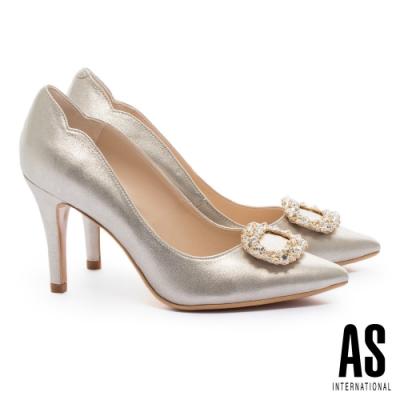 高跟鞋 AS 璀璨鑽釦羊麂皮美型尖頭高跟鞋-金