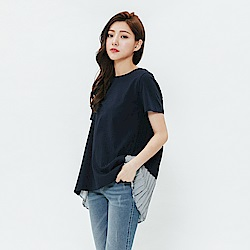 H:CONNECT 韓國品牌 女裝-百摺拼接設計感上衣-藍