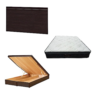 綠活居 可娜5尺雙人床台三式組合(床頭片+後掀床底+正三線乳膠獨立筒床墊)五色可選