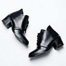 River&Moon短靴-油皮渲染綁帶粗跟短靴 黑