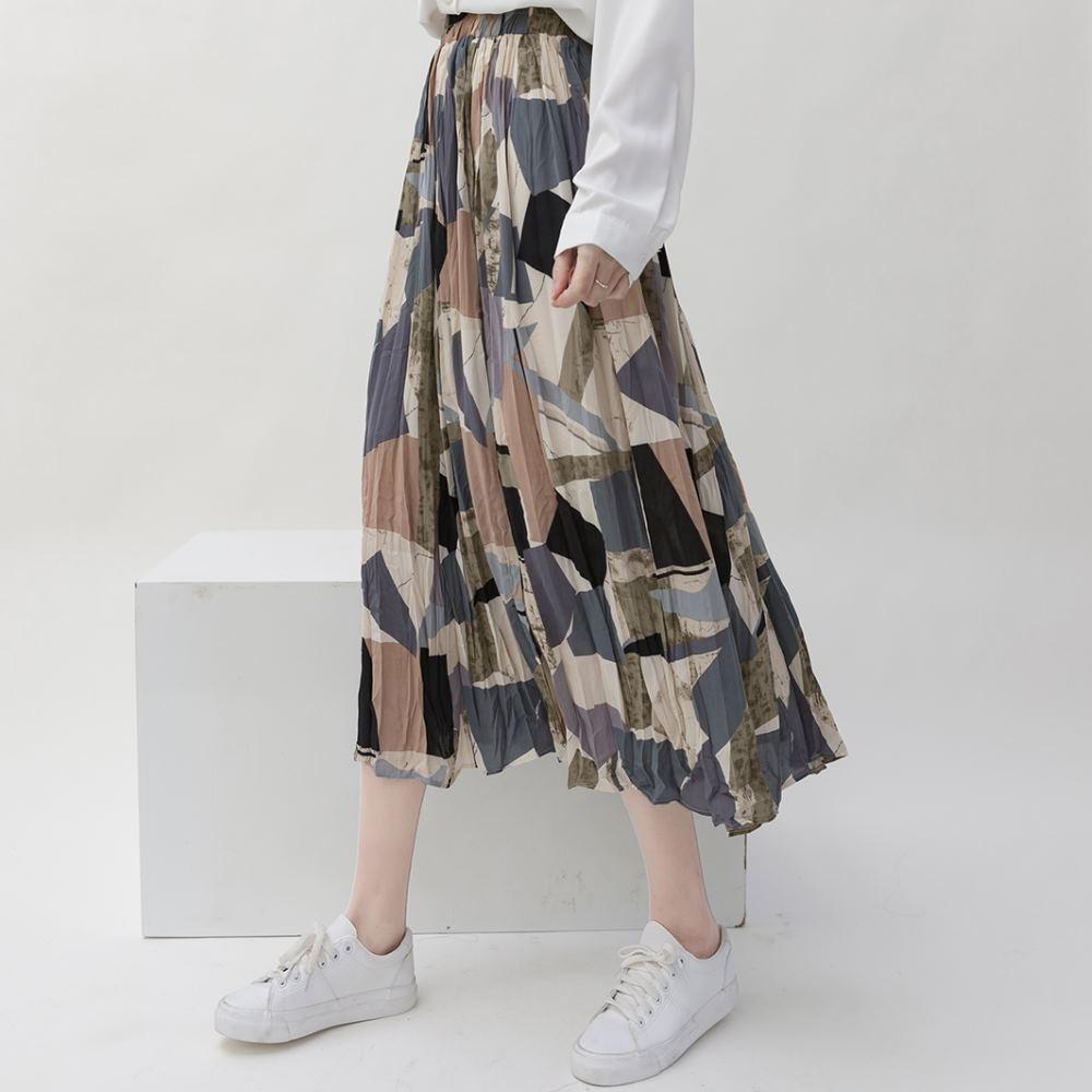 La Belleza鬆緊腰彩色幾何新格紋印花壓折雪紡中長裙大擺百摺裙