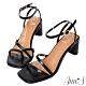 Ann'S一雙不對稱設計的方頭粗跟涼鞋-黑(版型偏小) product thumbnail 1