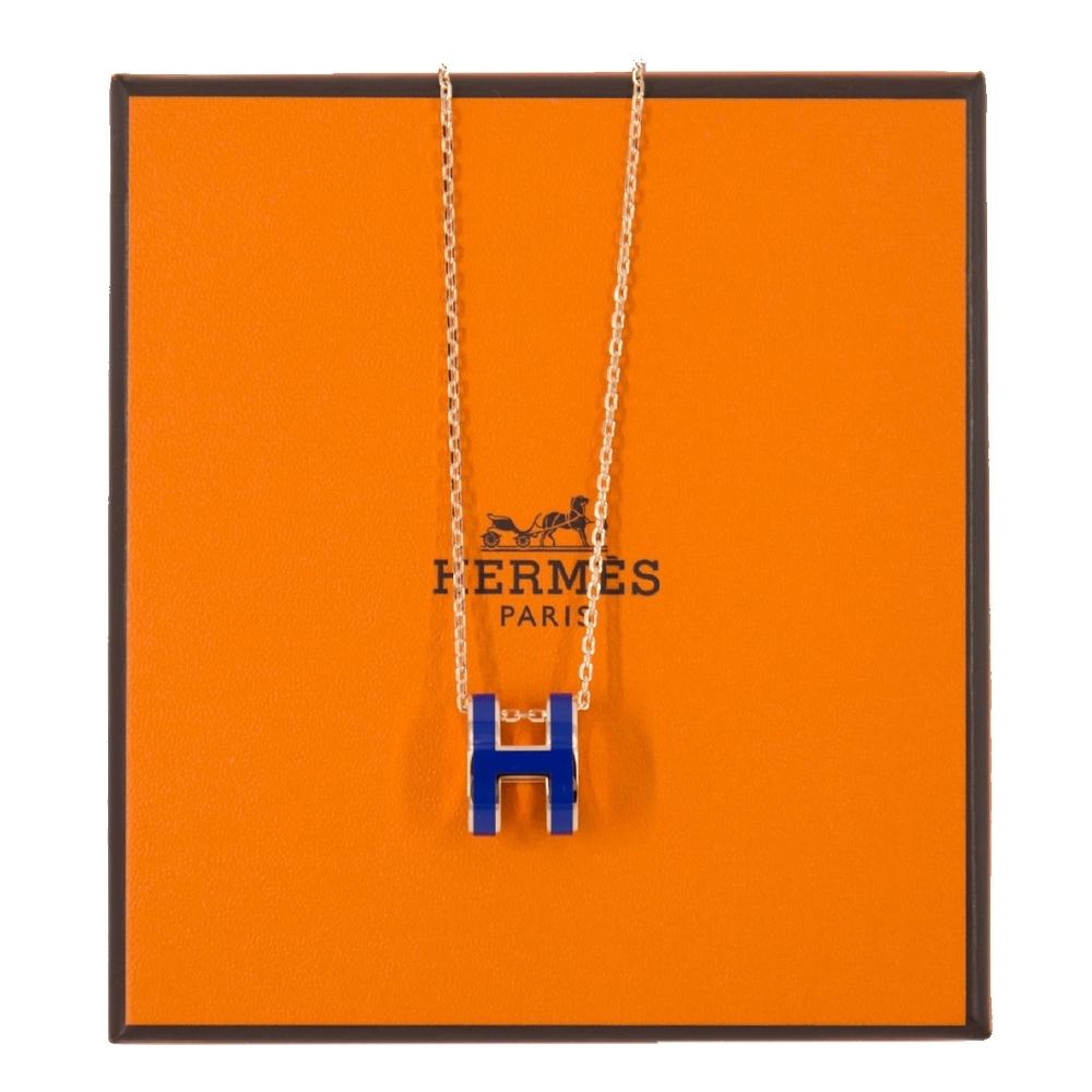 HERMES POP H 項鍊 (藍色 x 玫瑰金鍊) Blue Royal