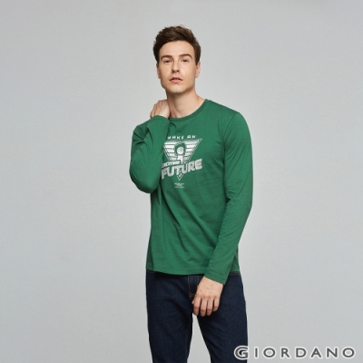 GIORDANO 男裝EXPLORE FUTURE印花長袖T恤- 26 森林綠