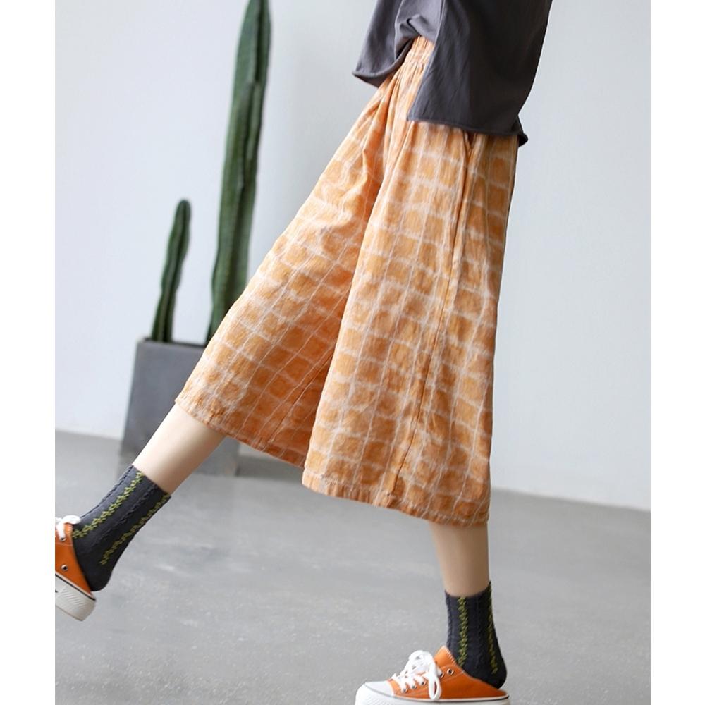 純棉高腰直筒褲顯瘦韓版時尚百搭七分褲子-設計所在