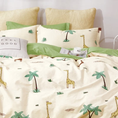 戀家小舖 / 單人床包枕套組 長頸鹿樂園 100%精梳純棉