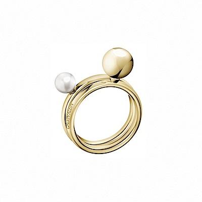 CALVIN KLEIN Bubbly 系列珍愛香檳金雙色珠戒指-7