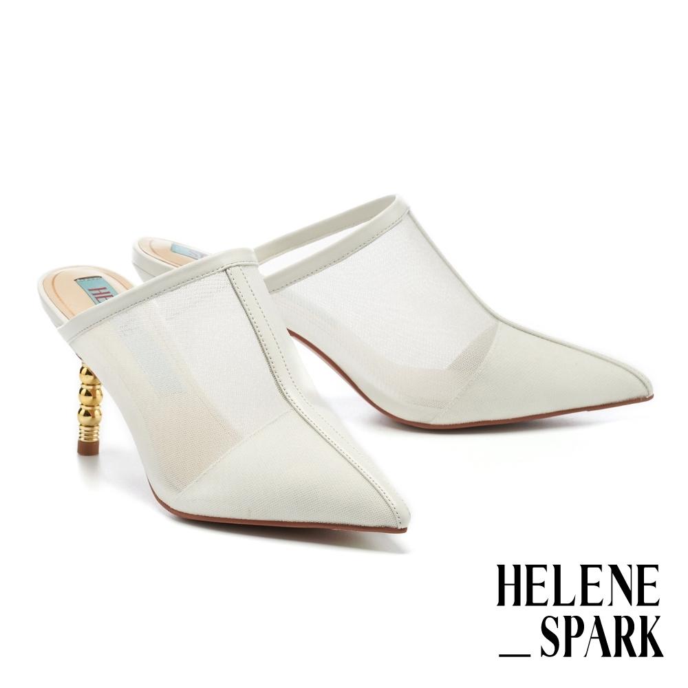 穆勒鞋 HELENE SPARK 性感摩登透膚細紗網尖頭高跟穆勒拖鞋-白