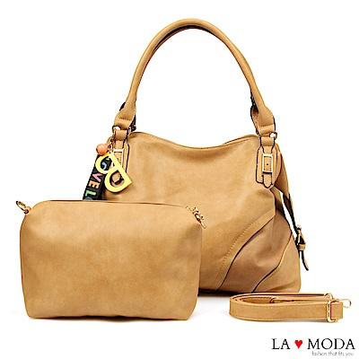 La Moda 質感熱賣款大容量雷射沖孔綴飾肩背斜背子母包(棕)