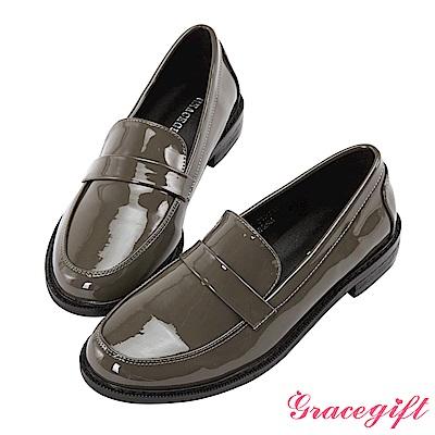Grace gift-漆皮簡約橫帶樂福鞋 灰