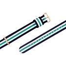 Watchband DW 各品牌通用 鍍玫瑰金不鏽鋼扣頭 尼龍錶帶-藍x白x綠
