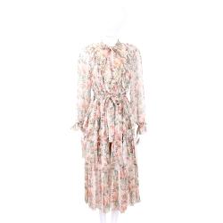 Zimmermann 粉膚色領結綁帶雪紡紗質洋裝(附同款花紋內