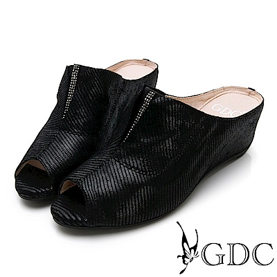 GDC-真皮低調優雅楔型魚口水鑽拖鞋-黑色