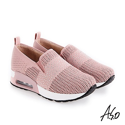 A.S.O 紓壓氣墊 高質感網布休閒鞋 粉紅