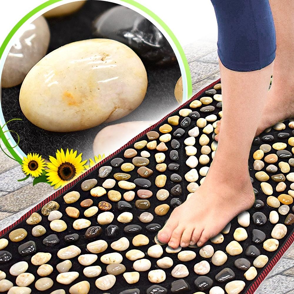 天然鵝卵石路健康步道(密集排列)(雨花石腳底按摩墊/居家石頭穴道按摩步道/腳踏墊腳踏板/足底指壓板足部按摩腳墊/踩踏運動健康之路)