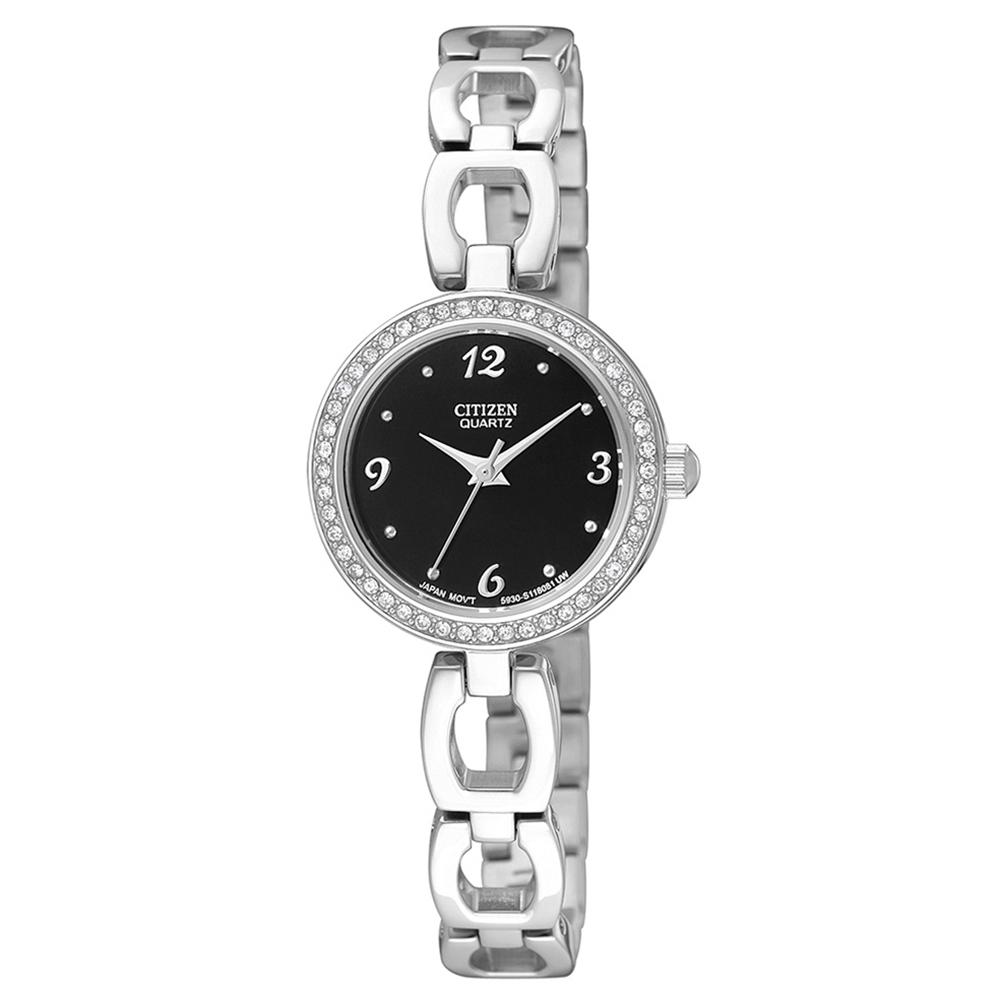 CTIZEN  典雅晶鑽鏤空手鍊女錶(EJ6070-51E)-黑x23mm