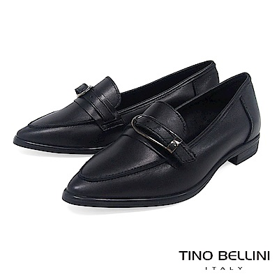 Tino Bellini 義大利進口皮帶飾釦尖楦微跟樂福鞋 _ 黑