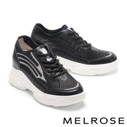 休閒鞋 MELROSE 率性時尚流線金蔥異材質厚底休閒鞋-黑