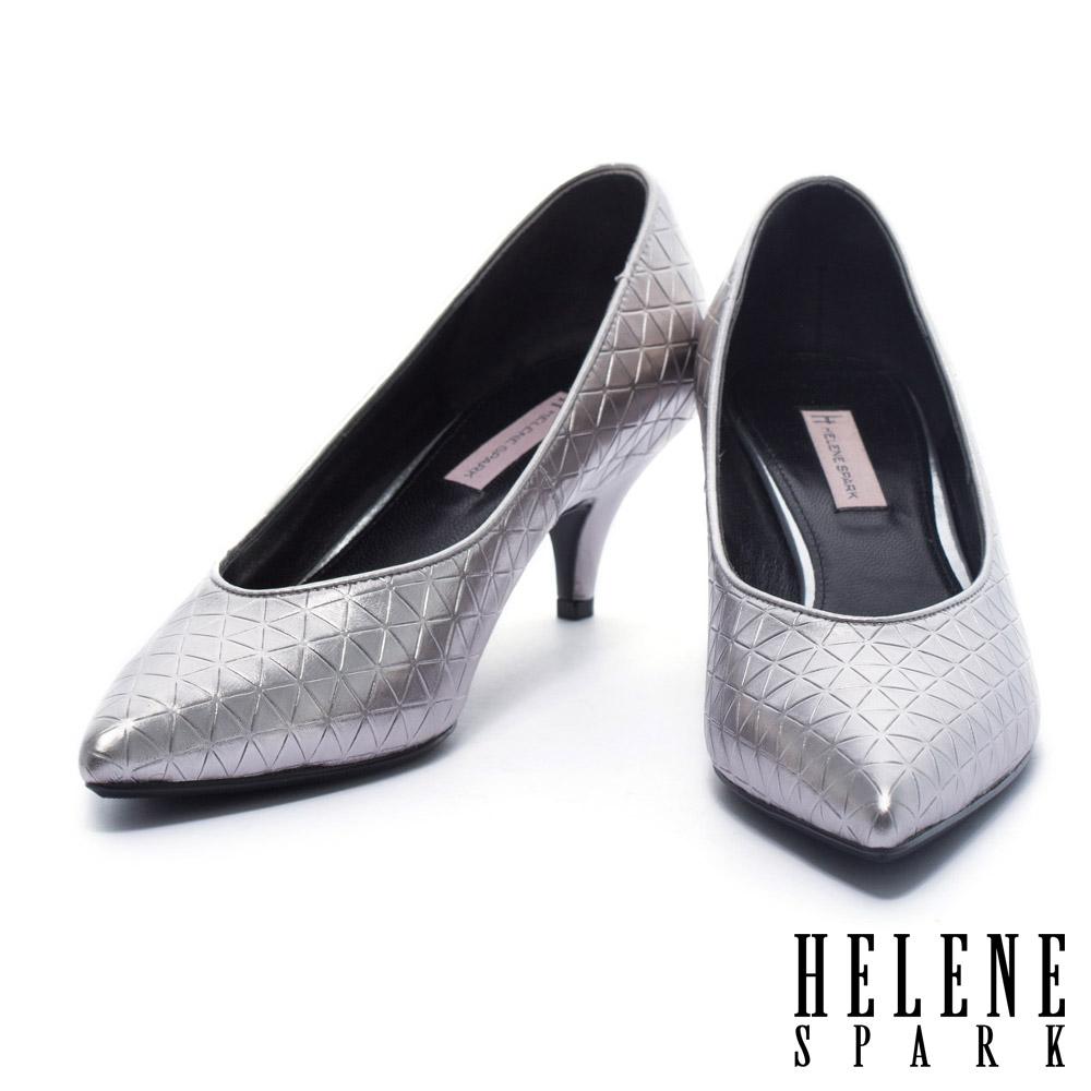 高跟鞋 HELENE SPARK 典雅三角壓紋牛皮尖頭高跟鞋-銀