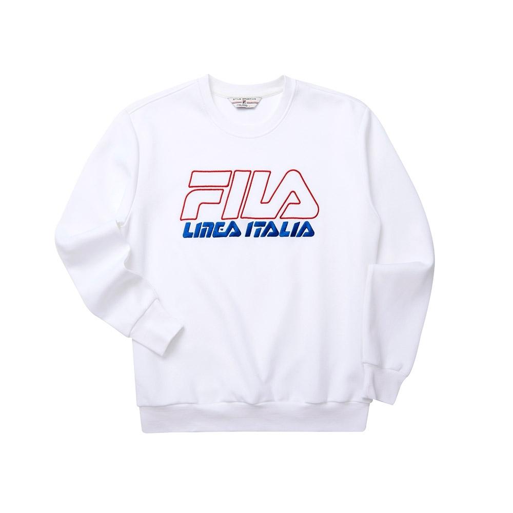 FILA #LINEA ITALIA 長袖圓領T恤-白色 1TET-5435-WT