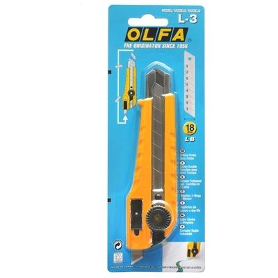 日本OLFA大型美工刀L-3(雙向切割功能;手輪鎖定;18mm替刃;日本品番54B)切割刀筆刀