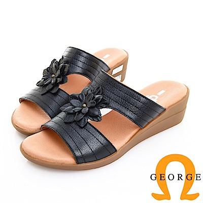 GEORGE 喬治皮鞋 舒適氣墊 真皮壓線立體花朵楔型拖鞋 -黑