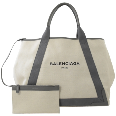 BALENCIAGA NAVY 簡約款大款手提帆布包(白/淺灰)