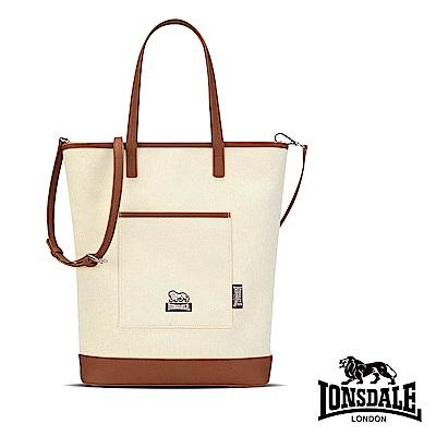 【LONSDALE 英國小獅】帆布皮革飾邊手提/肩背包-咖啡棕 LD1326
