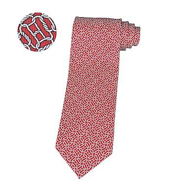 HERMES愛馬仕LONGES經典緹花LOGO幾何圖形設計蠶絲領帶(莓果紅x白)