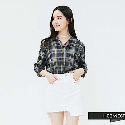 H:CONNECT 韓國品牌 女裝-復古格紋排扣上衣-藍
