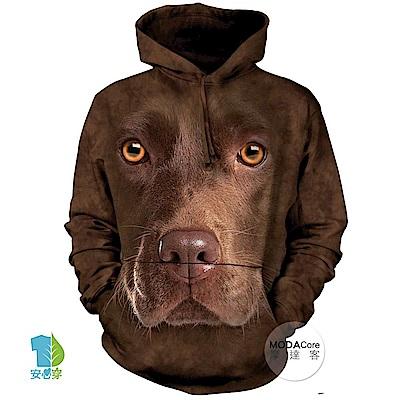 摩達客 美國The Mountain 棕拉不拉多犬臉 中性套頭長袖連帽T恤