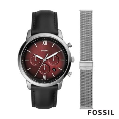 FOSSIL NEUTRA CHRONO三眼男錶鍊帶組-黑色44MM FS5600SET