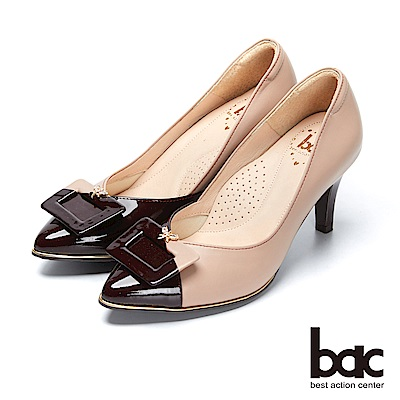 【bac】都會新秀-撞色不對襯飾釦高跟鞋