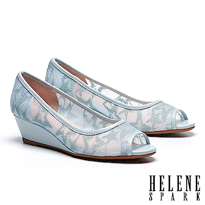 高跟鞋 HELENE SPARK 經典雅緻星星造型網紗魚口楔型高跟鞋-藍