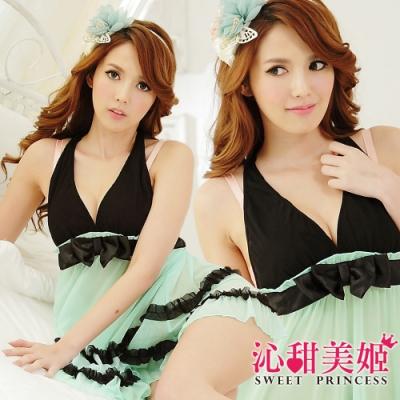 奢華網紗睡衣裙組 V領蝴蝶結美胸+雙層蕾絲裙擺 沁甜美姬(湖綠)