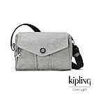 Kipling 簡約主義淺灰織紋大容量掀蓋側背包-READY NOW S
