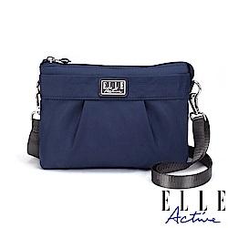 ELLE Active 優雅隨行系列-輕薄多夾層側背包/斜背包/手拿包-深藍色