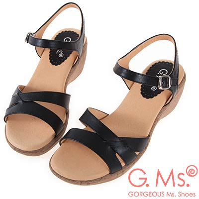 G.Ms. MIT系列-牛皮楔型坡跟涼鞋-黑色