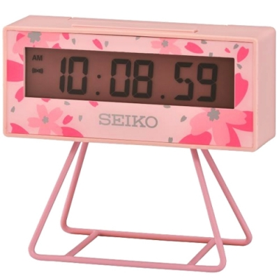 SEIKO 日本精工 倒數計時 電子鐘 鬧鐘(QHL082P)-粉/9.3X10.4cm