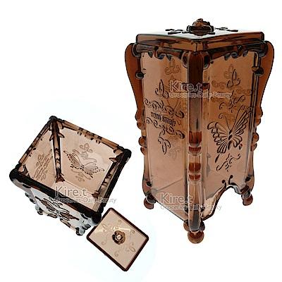 透明咖蝴蝶抽取式化妝棉盒收納盒