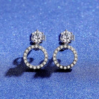 米蘭精品 莫桑鑽耳環925純銀耳針-0.3ct雙戴法圓圈時尚聖誕節情人節生日禮物女飾品73yk90