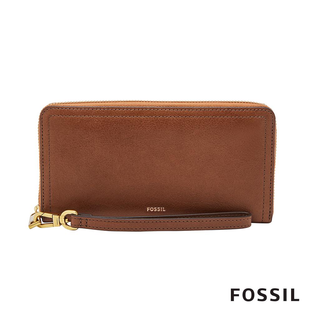 FOSSIL LOGAN 真皮系列多層拉鍊零錢袋長夾-咖啡色 SL7831200