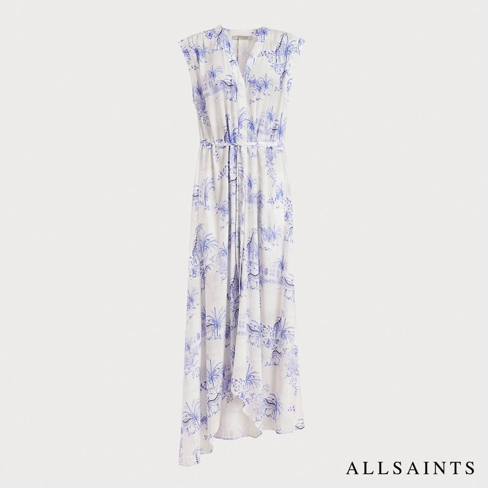 ALLSAINTS TATE 經典抽繩修身不對稱下擺無袖長版印花連身裙洋裝-海水藍